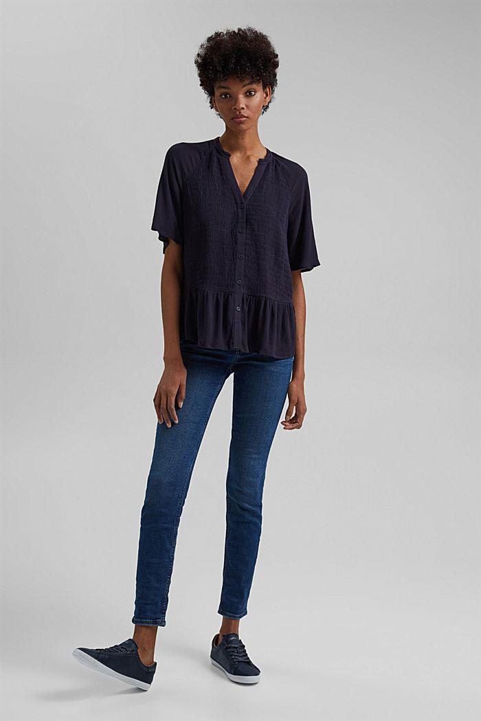 Smocked peplum blouse, LENZING™ ECOVERO™, NAVY, detail image number 1