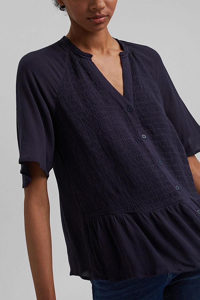 Smocked peplum blouse, LENZING™ ECOVERO™, NAVY, detail image number 2