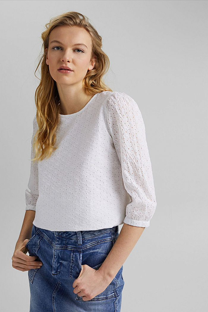 Organic cotton blouse with broderie anglaise