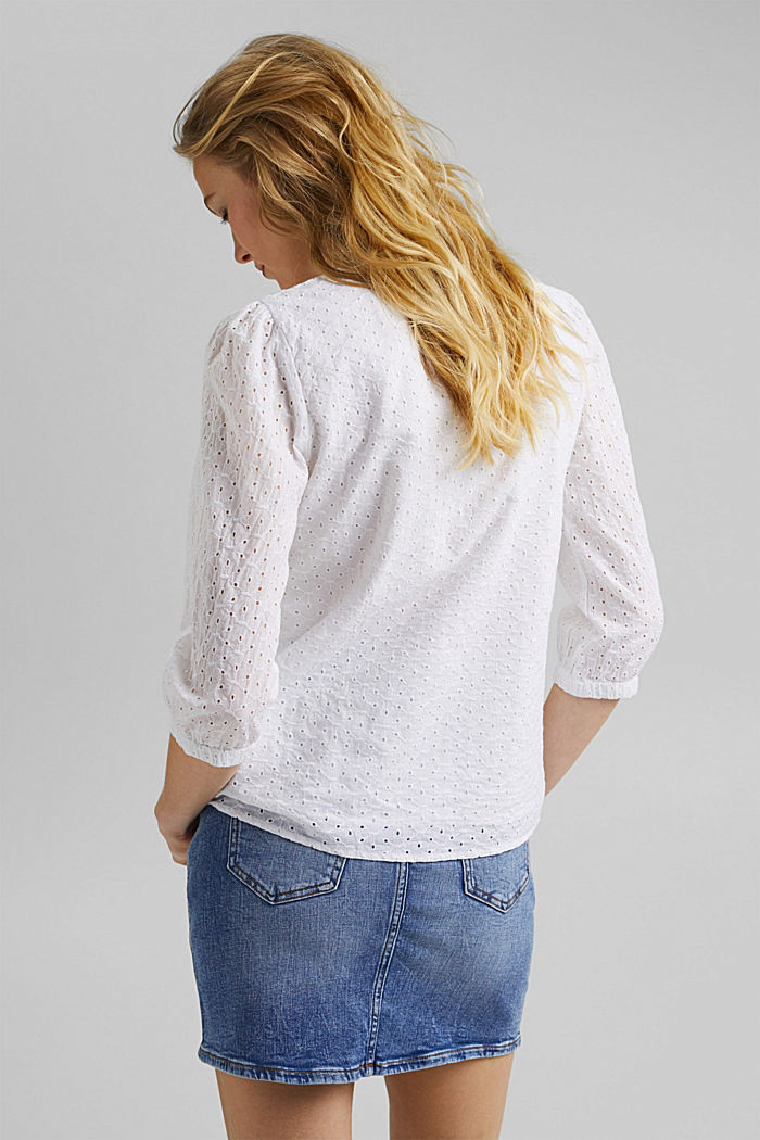 Organic cotton blouse with broderie anglaise, WHITE, detail image number 3