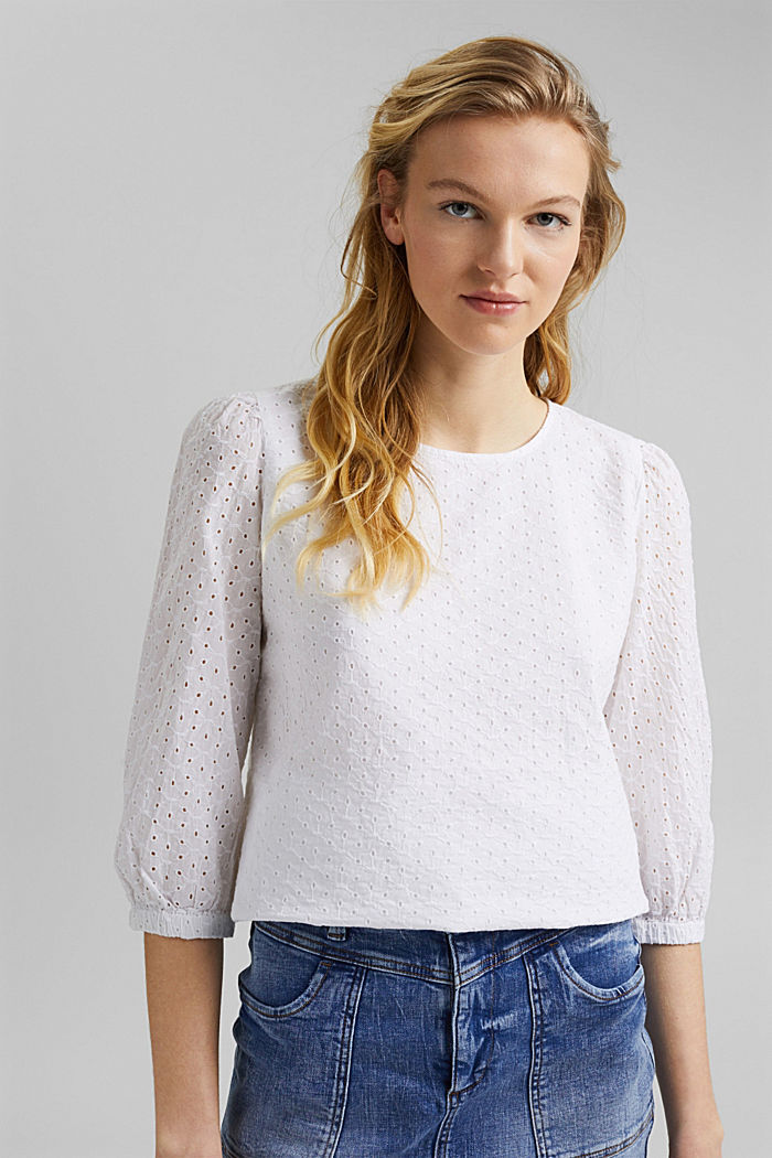 Organic cotton blouse with broderie anglaise, WHITE, detail image number 6