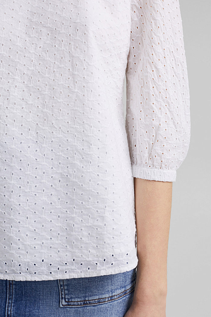 Organic cotton blouse with broderie anglaise, WHITE, detail image number 5