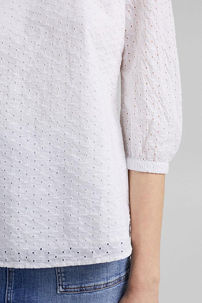 Blusa de algodón ecológico con bordado calado, WHITE, detail image number 5