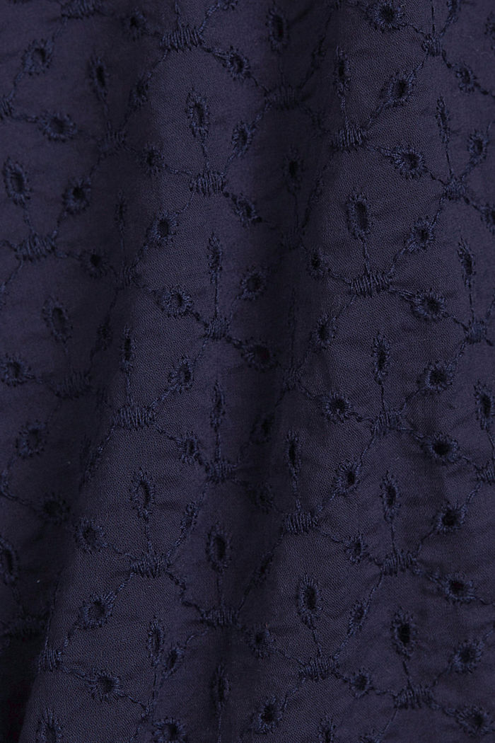 Organic cotton blouse with broderie anglaise, NAVY, detail image number 4