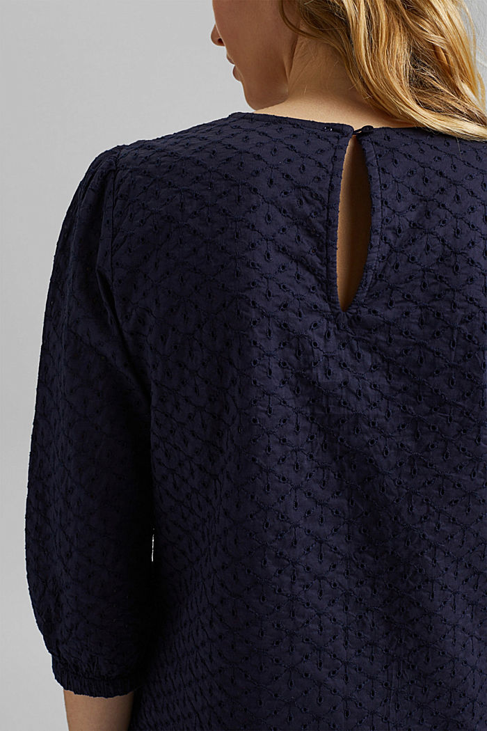 Organic cotton blouse with broderie anglaise, NAVY, detail image number 5