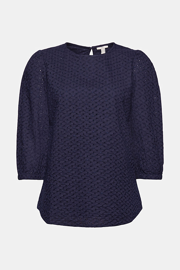 Organic cotton blouse with broderie anglaise, NAVY, detail image number 7