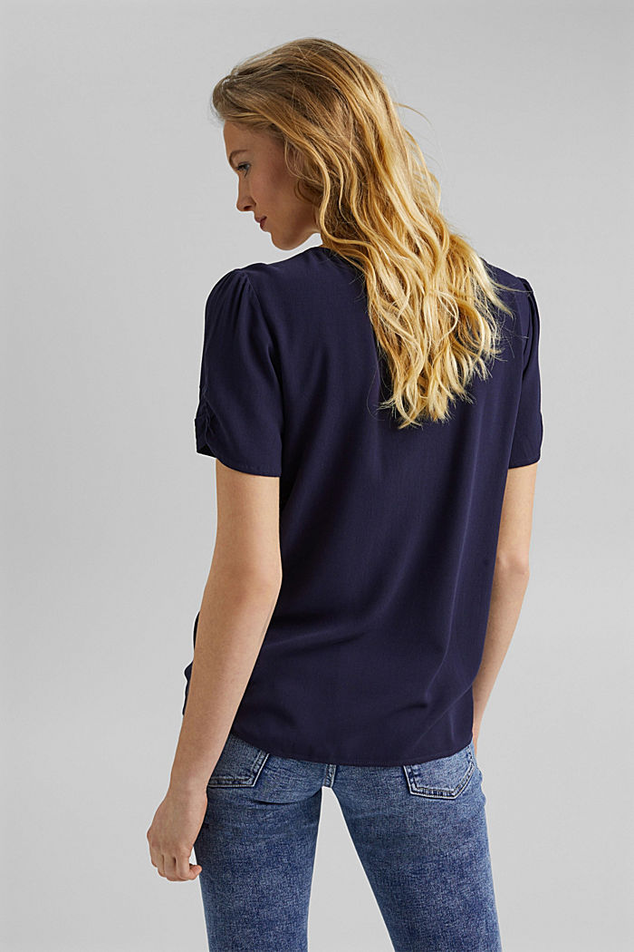 Blouse top made of LENZING™ ECOVERO™, NAVY, detail image number 3