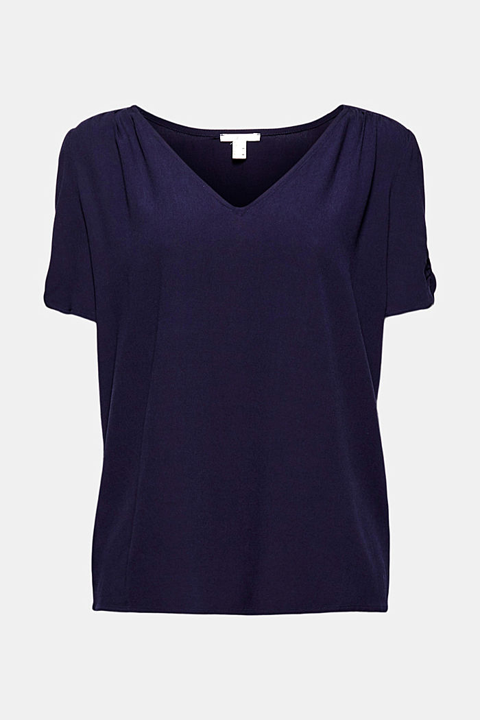 Blouse top made of LENZING™ ECOVERO™, NAVY, detail image number 6