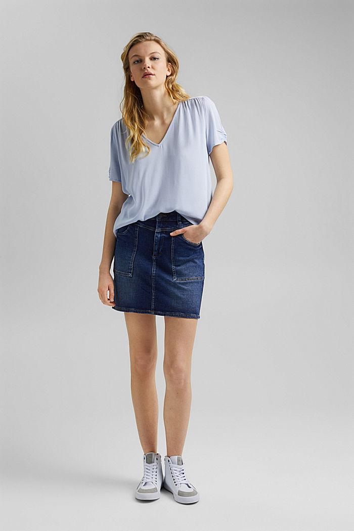 Haut façon blouse en LENZING™ ECOVERO™, LIGHT BLUE LAVENDER, detail image number 5