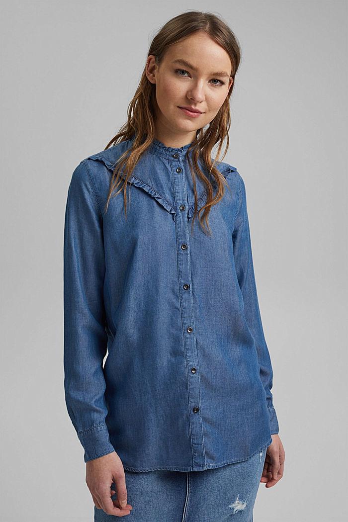 Aus TENCEL™: Jeansbluse mit Rüschen, BLUE MEDIUM WASHED, detail image number 0