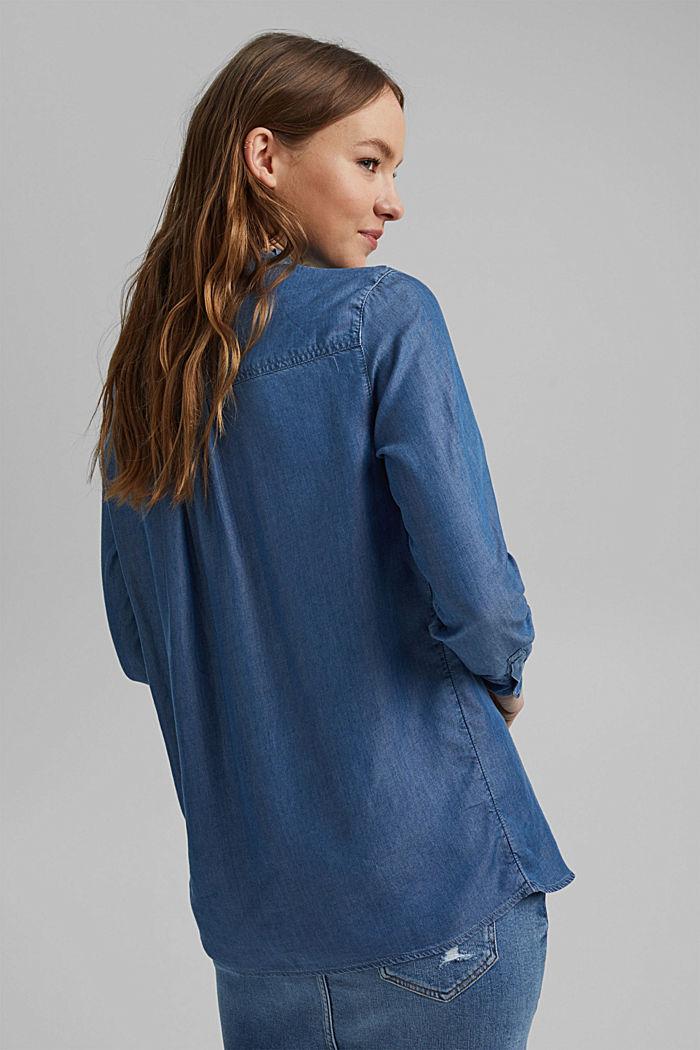 Aus TENCEL™: Jeansbluse mit Rüschen, BLUE MEDIUM WASHED, detail image number 3