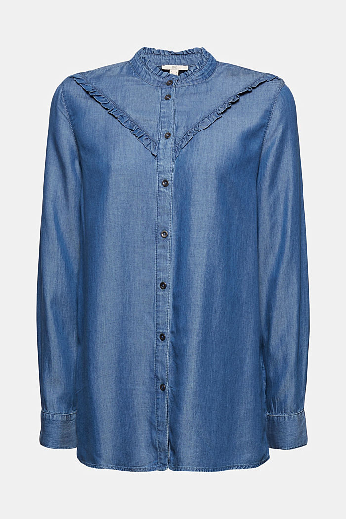 Made of TENCEL™: frilled denim blouse