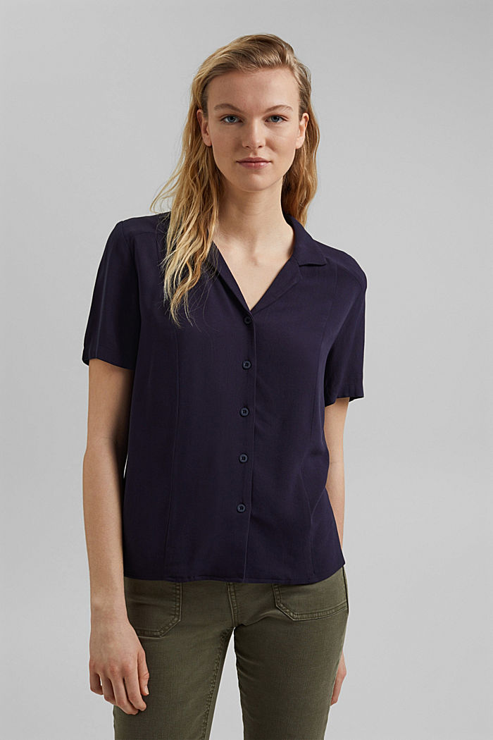 Blouse top made of LENZING™ ECOVERO™, NAVY, detail image number 0