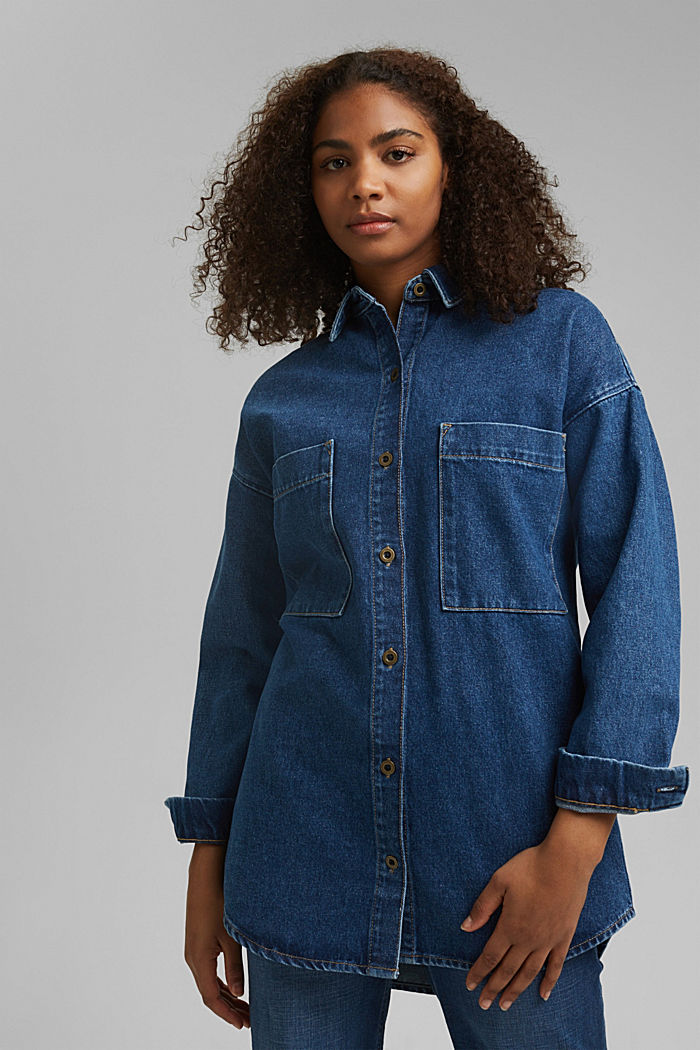 Denim overshirt made of blended organic cotton, BLUE MEDIUM WASHED, detail image number 0