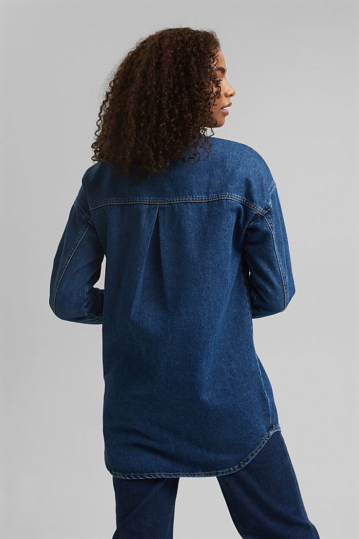Denim overshirt made of blended organic cotton, BLUE MEDIUM WASHED, detail image number 3