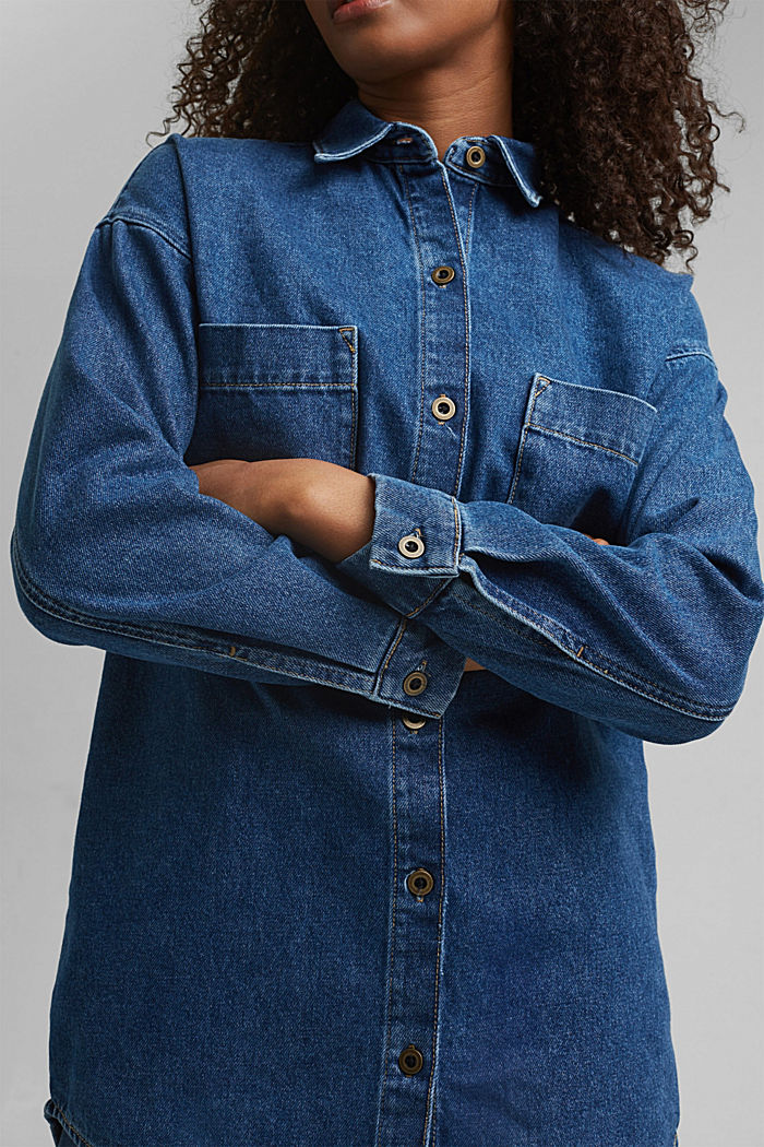 Denim overshirt made of blended organic cotton, BLUE MEDIUM WASHED, detail image number 2