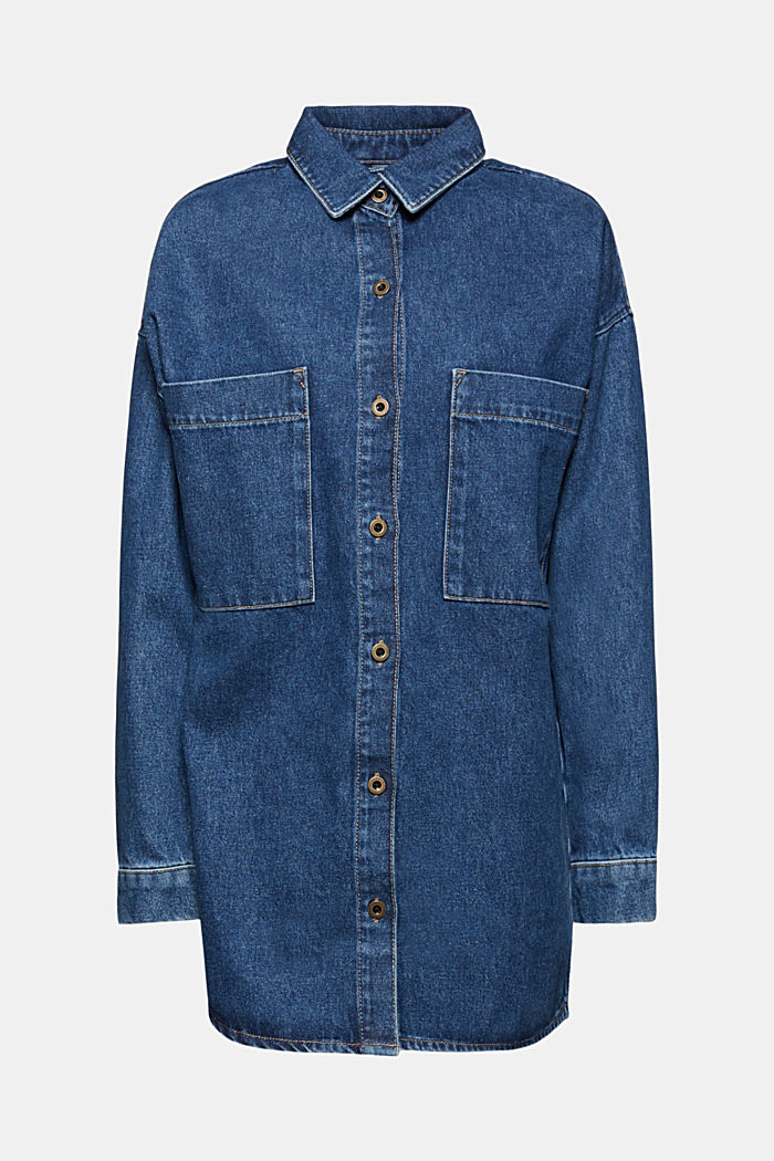 Denim overshirt made of blended organic cotton, BLUE MEDIUM WASHED, detail image number 8