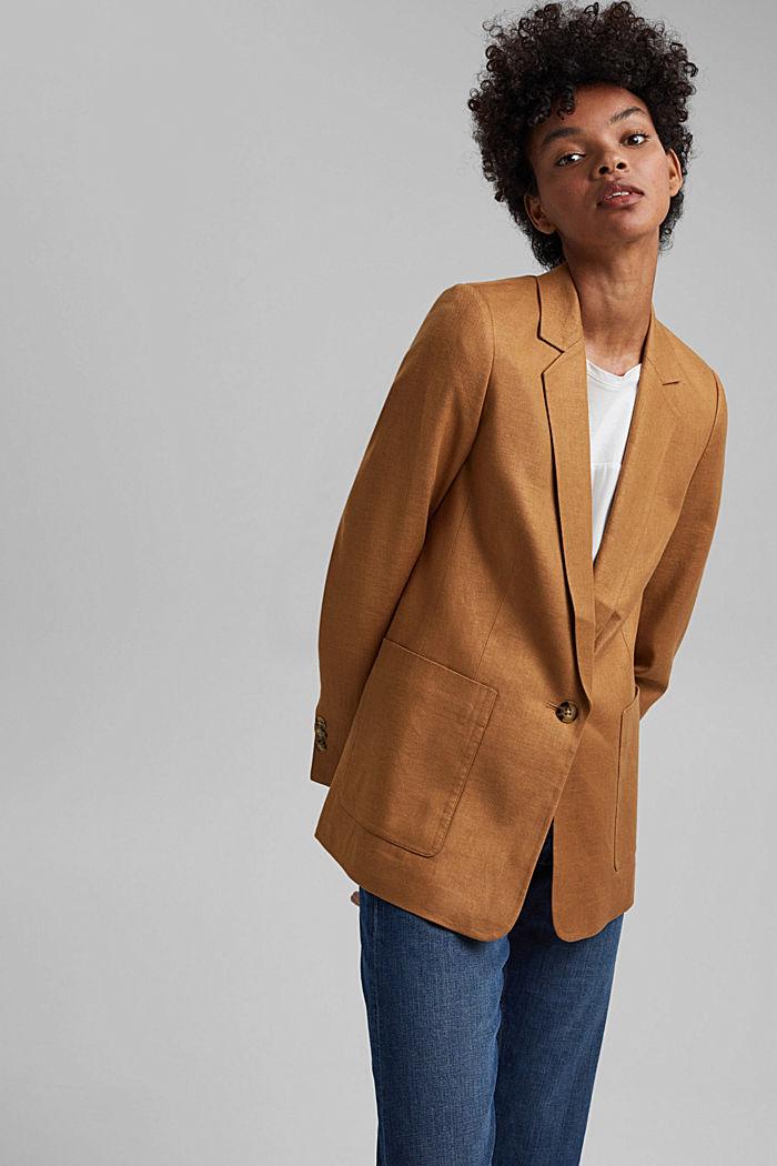 Linen blend: oversized blazer, CARAMEL, detail image number 0