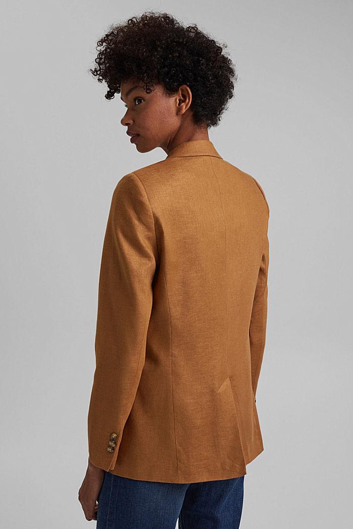 Linen blend: oversized blazer, CARAMEL, detail image number 3