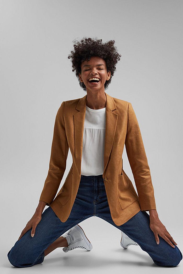 Linen blend: oversized blazer, CARAMEL, detail image number 6