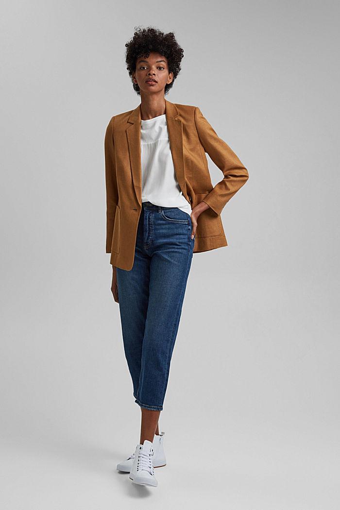 Linen blend: oversized blazer, CARAMEL, detail image number 1