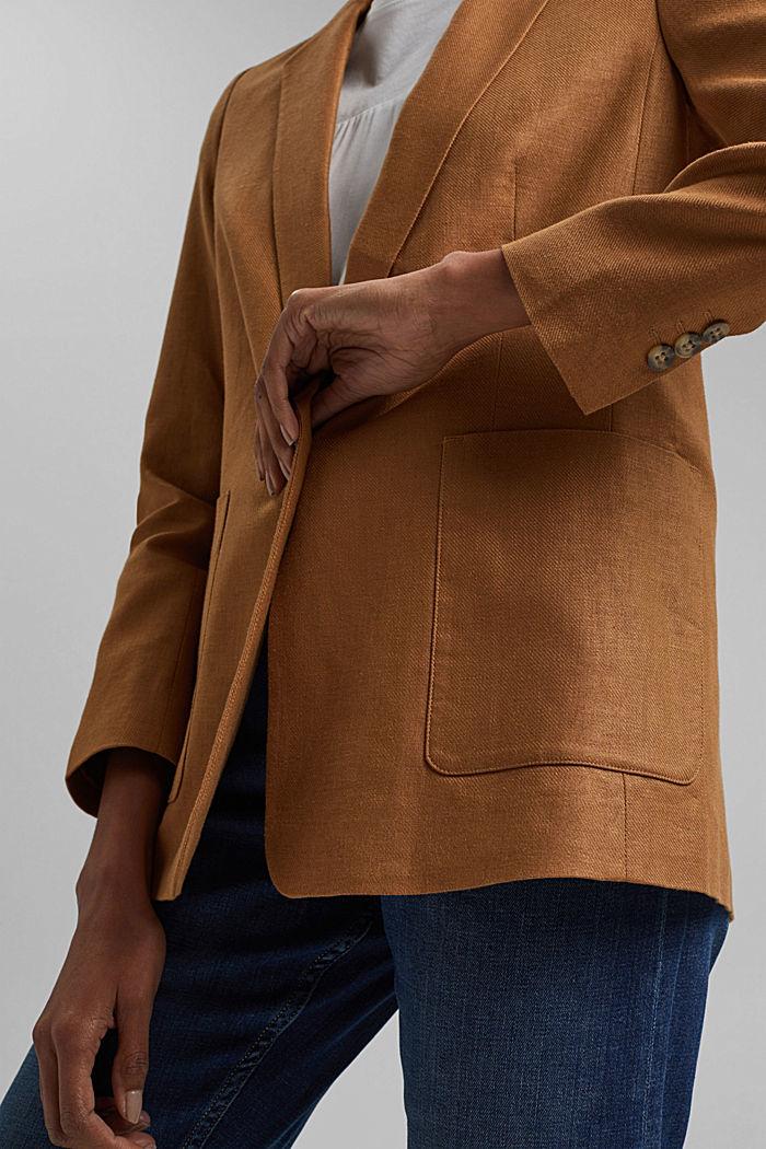 Linen blend: oversized blazer, CARAMEL, detail image number 2