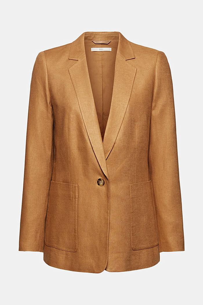 Linen blend: oversized blazer, CARAMEL, detail image number 7