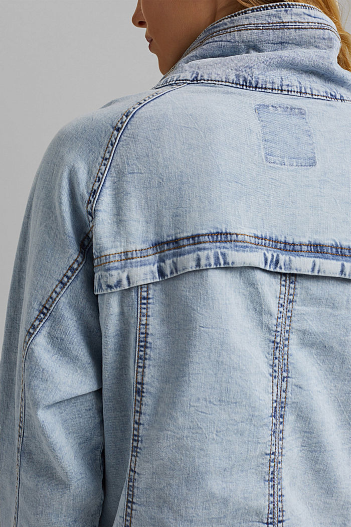 Leinen/Organic Cotton: leichte Jeansjacke, BLUE LIGHT WASHED, detail image number 5