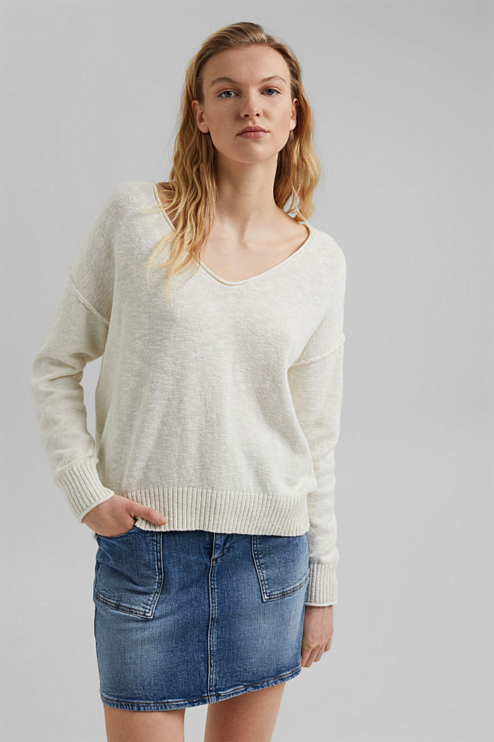 Linen/organic cotton: V-neck jumper, OFF WHITE, detail image number 0