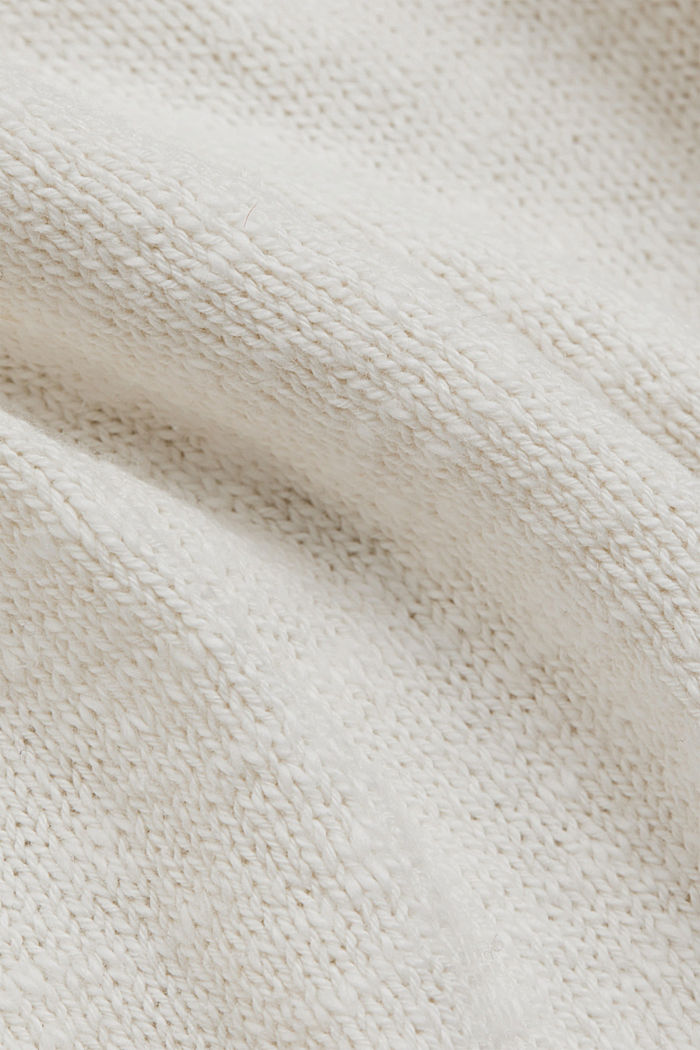 Linen/organic cotton: V-neck jumper, OFF WHITE, detail image number 4