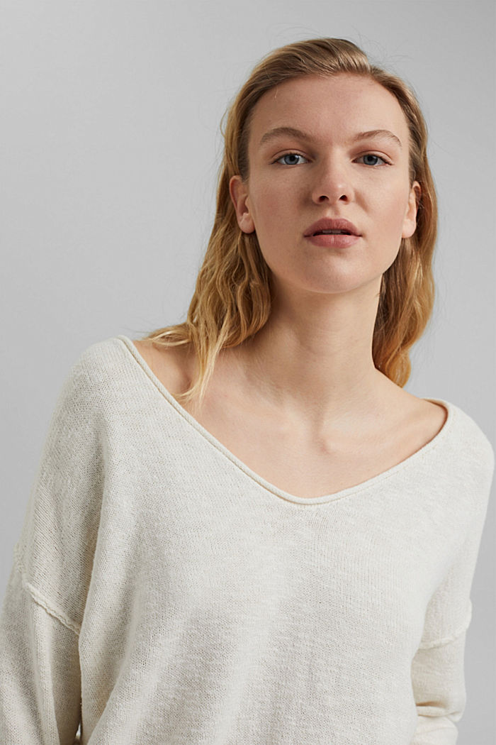 Linen/organic cotton: V-neck jumper, OFF WHITE, detail image number 5