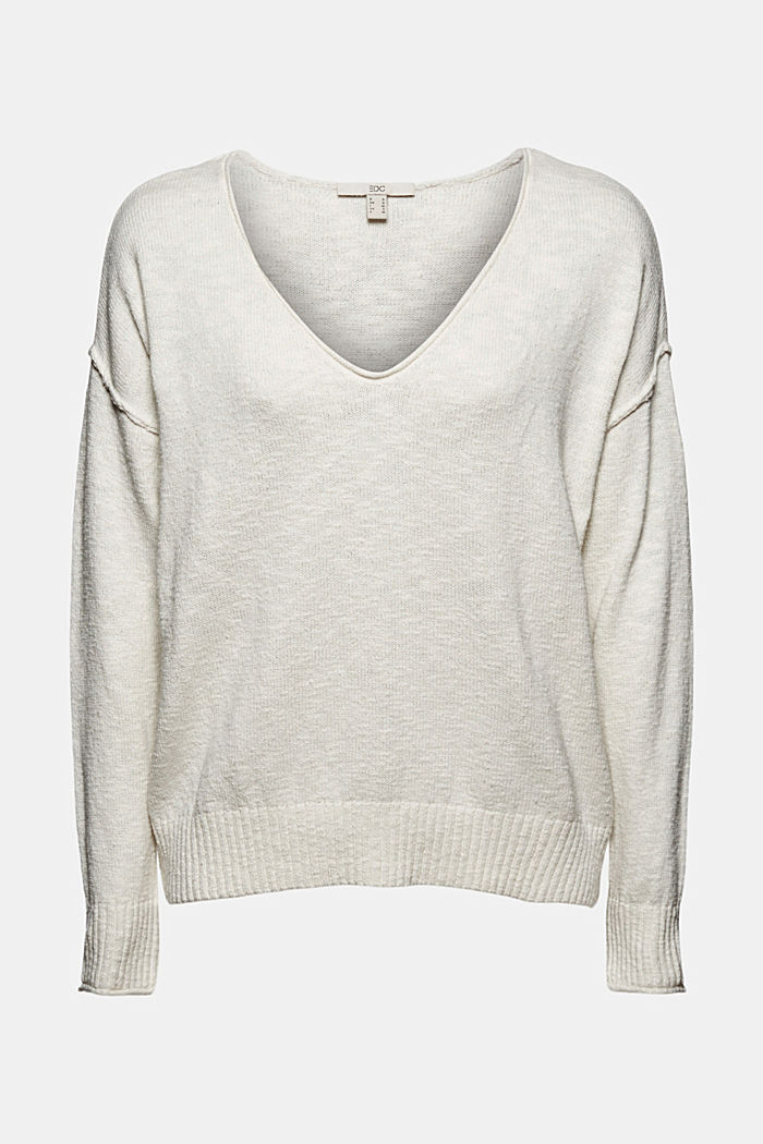 Linen/organic cotton: V-neck jumper, OFF WHITE, detail image number 6