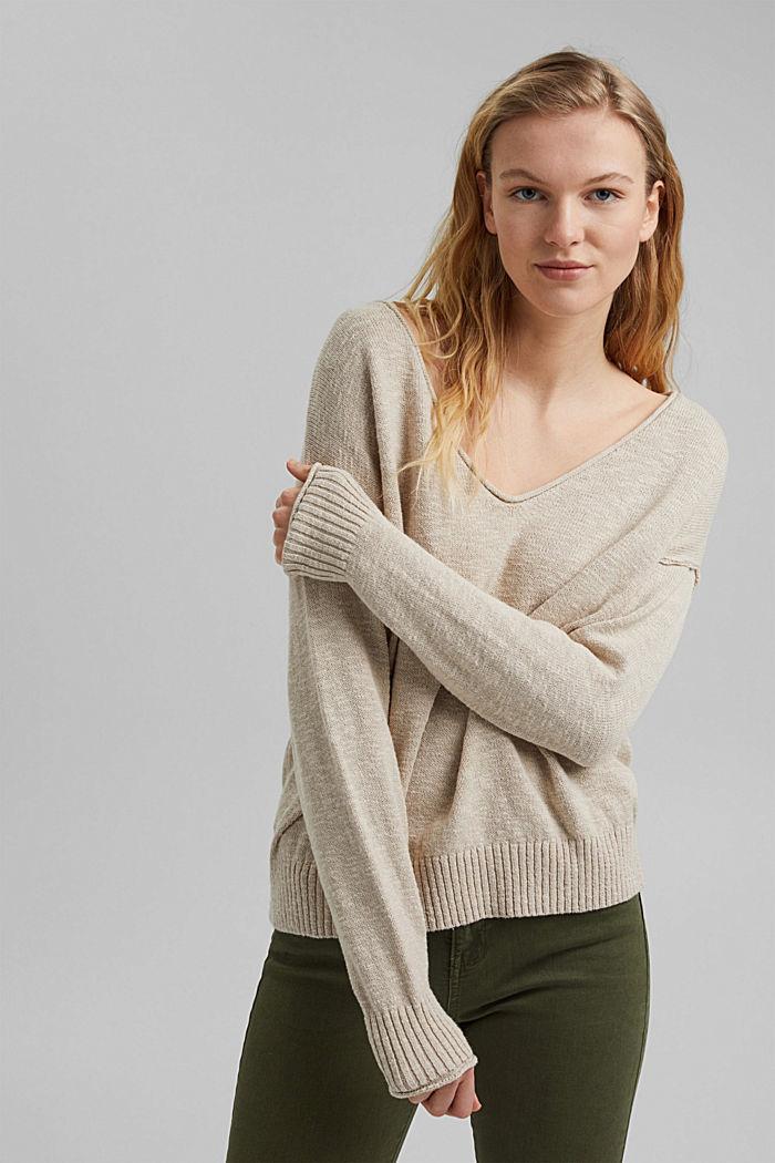 Linen/organic cotton: V-neck jumper, BEIGE, detail image number 0