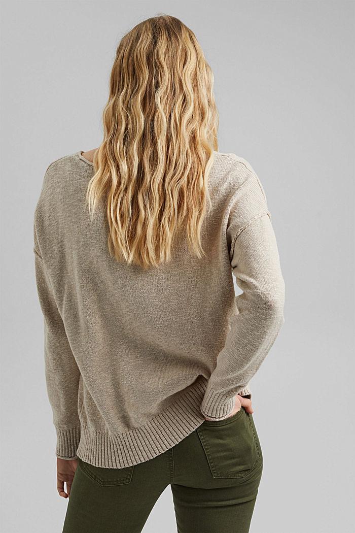 Linen/organic cotton: V-neck jumper, BEIGE, detail image number 3