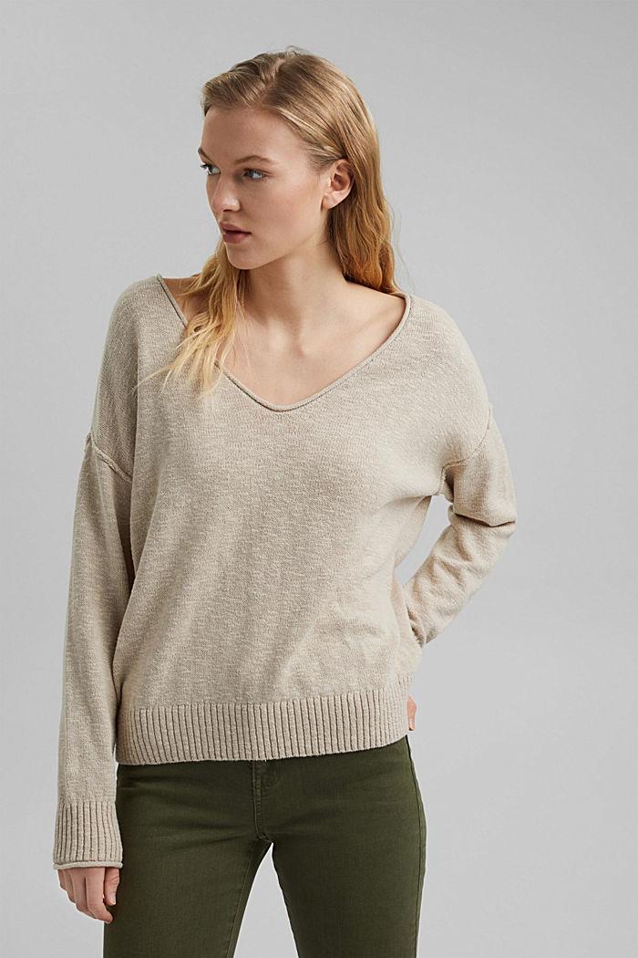 Linen/organic cotton: V-neck jumper, BEIGE, detail image number 5
