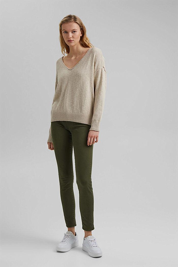Linen/organic cotton: V-neck jumper, BEIGE, detail image number 1