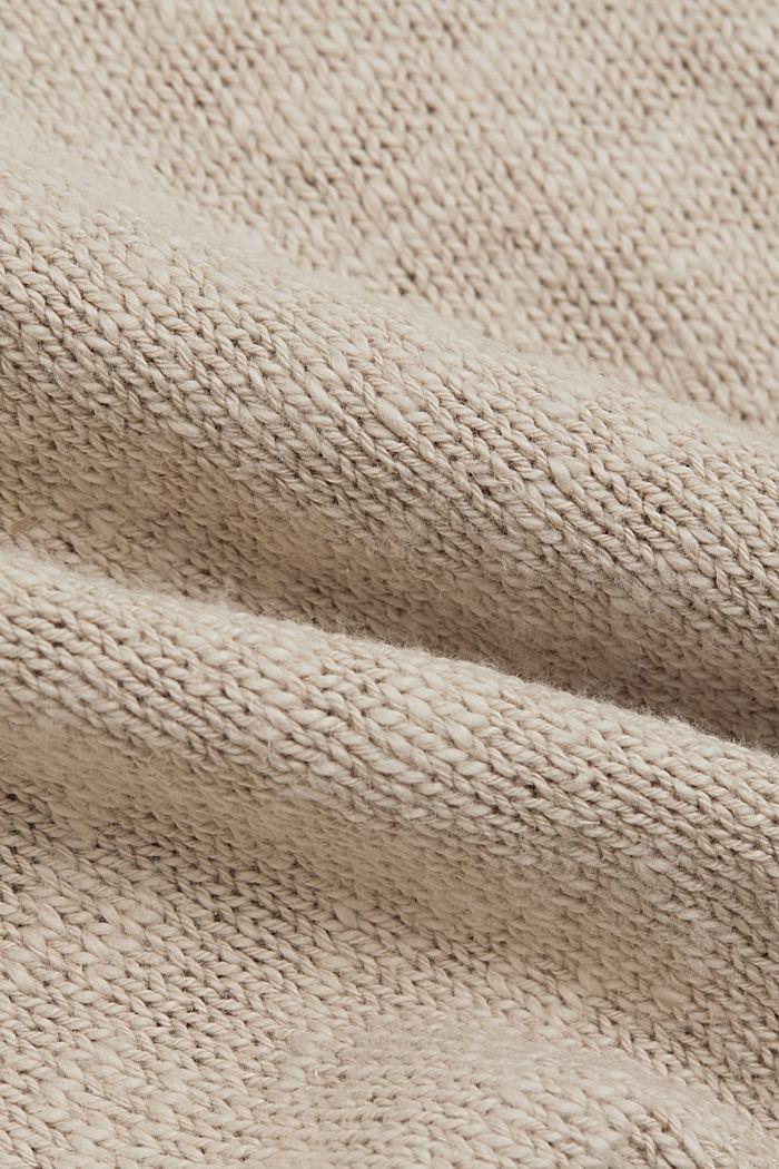 Linen/organic cotton: V-neck jumper, BEIGE, detail image number 4