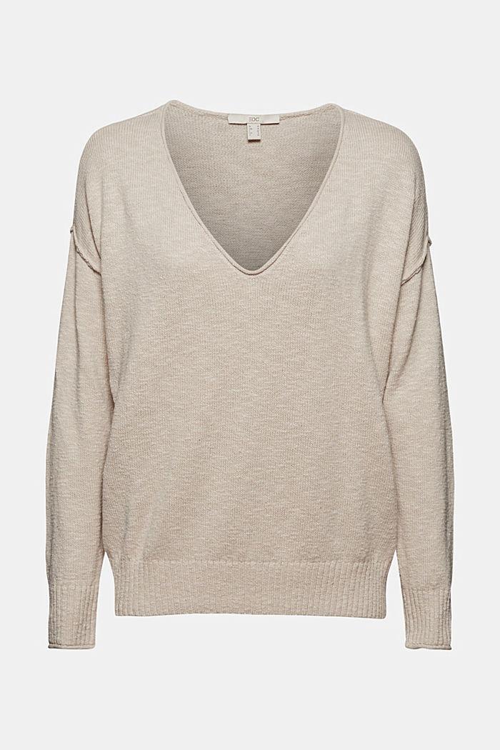 Linen/organic cotton: V-neck jumper, BEIGE, detail image number 7