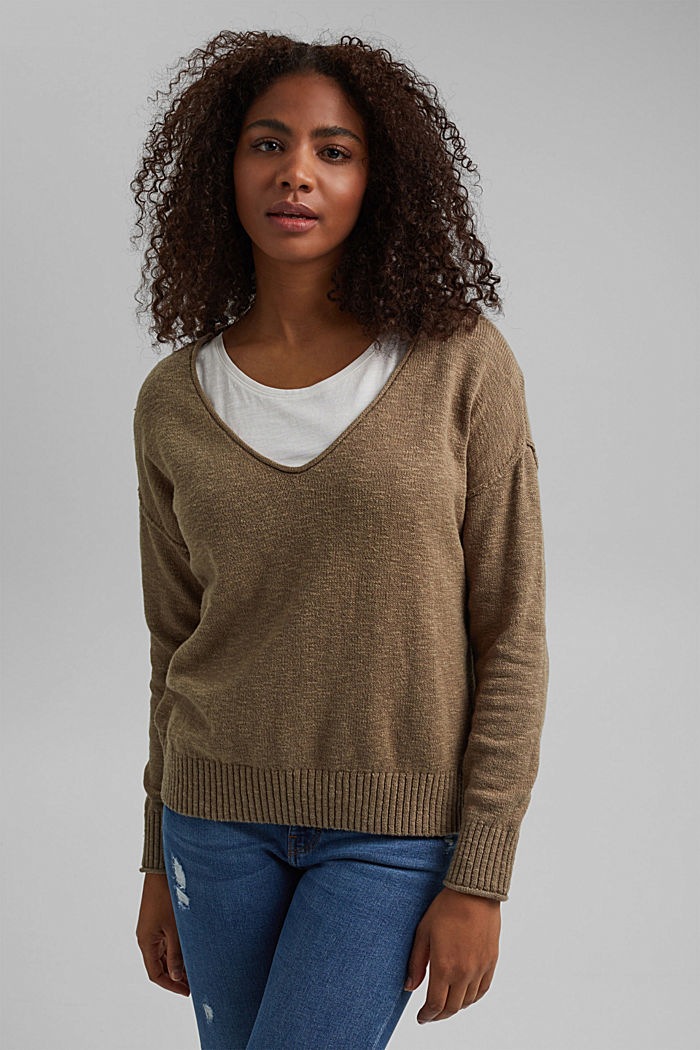 Linen/organic cotton: V-neck jumper, LIGHT KHAKI, detail image number 0