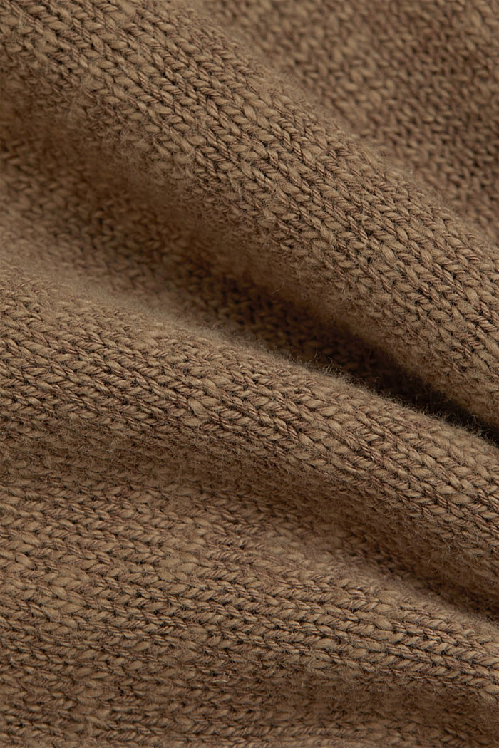 Linen/organic cotton: V-neck jumper, LIGHT KHAKI, detail image number 4