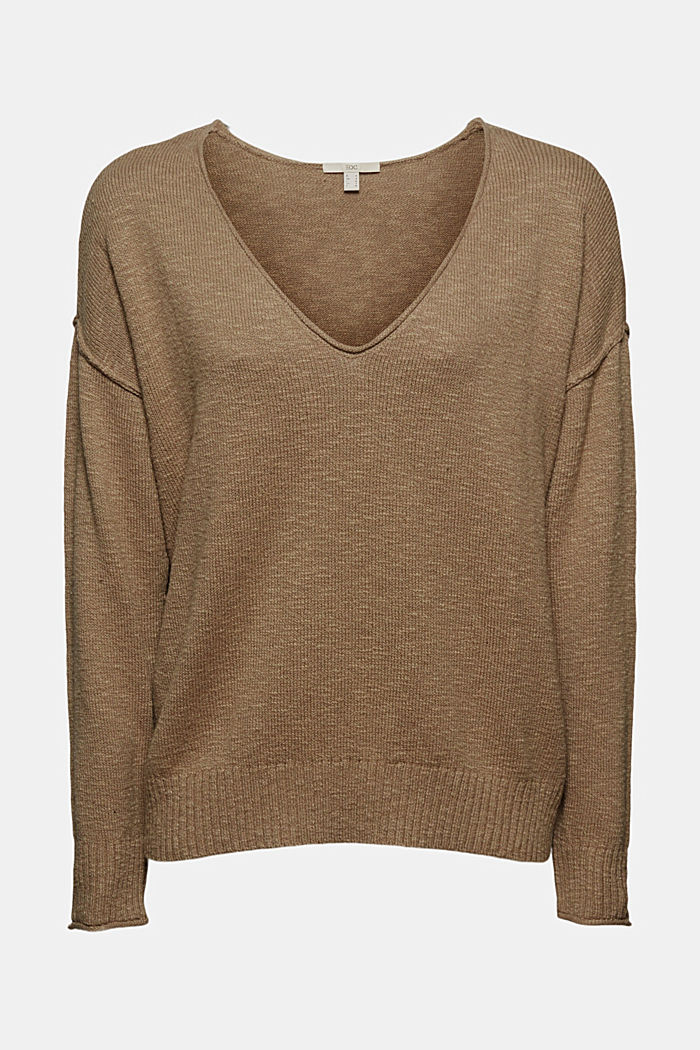 Linen/organic cotton: V-neck jumper, LIGHT KHAKI, detail image number 5