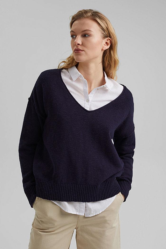 Linen/organic cotton: V-neck jumper, NAVY, detail image number 0