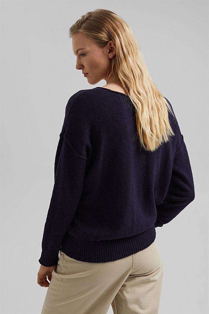 Linen/organic cotton: V-neck jumper, NAVY, detail image number 3