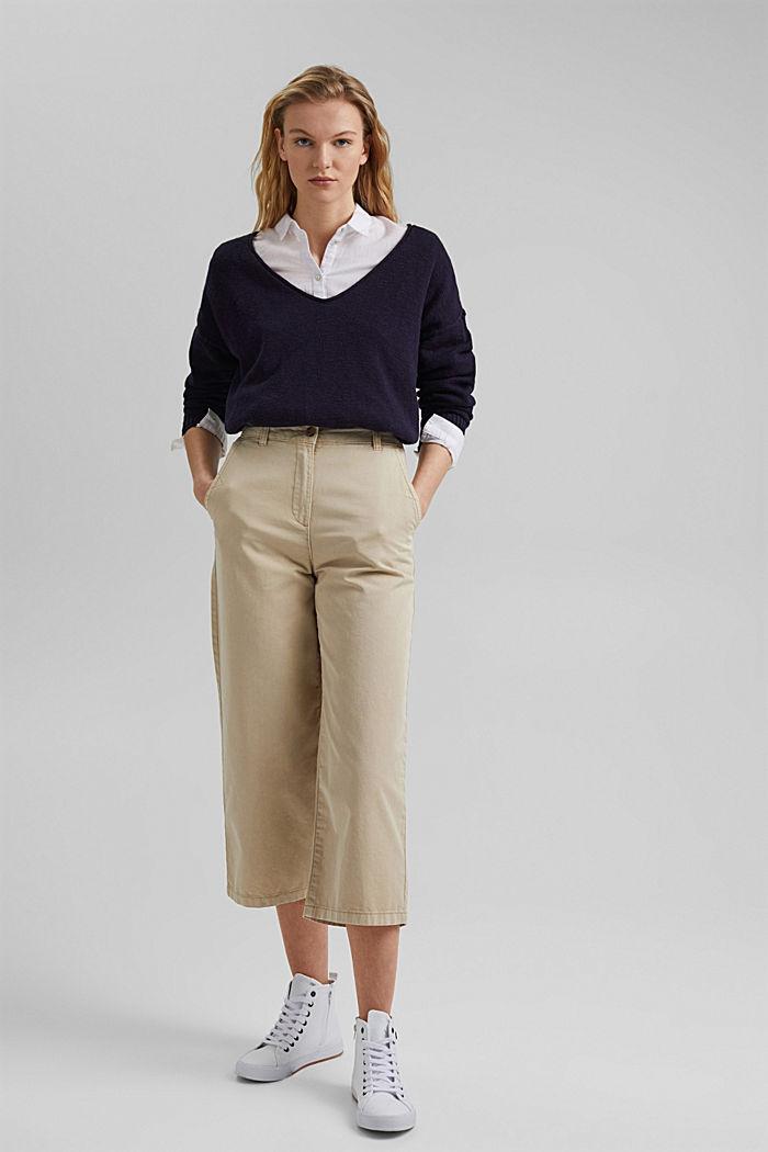 Linen/organic cotton: V-neck jumper, NAVY, detail image number 1