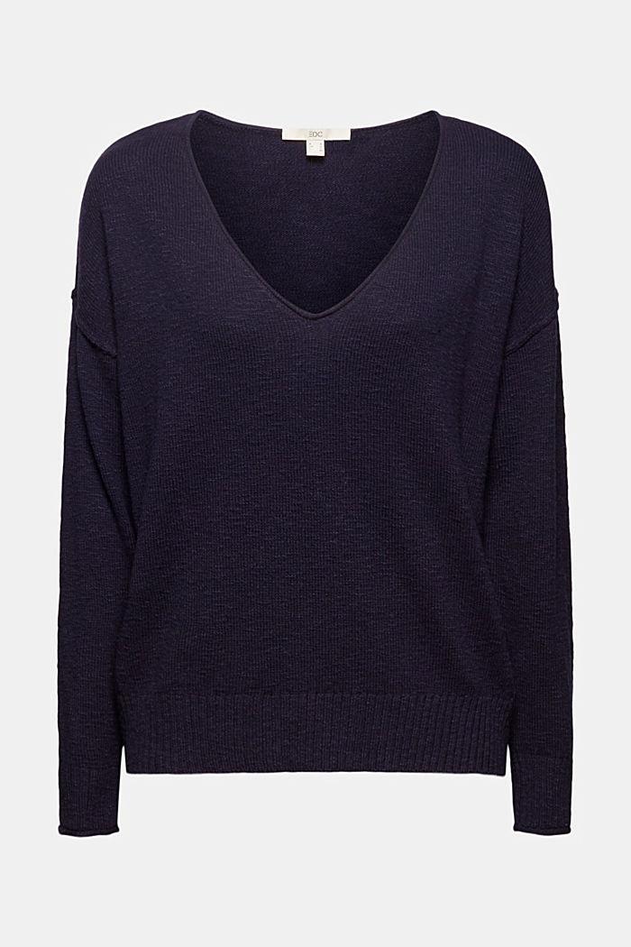 Linen/organic cotton: V-neck jumper, NAVY, detail image number 7