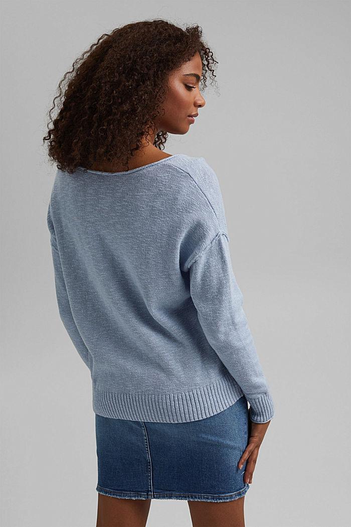 Leinen/Organic Cotton: V-Neck Pullover, LIGHT BLUE LAVENDER, detail image number 3