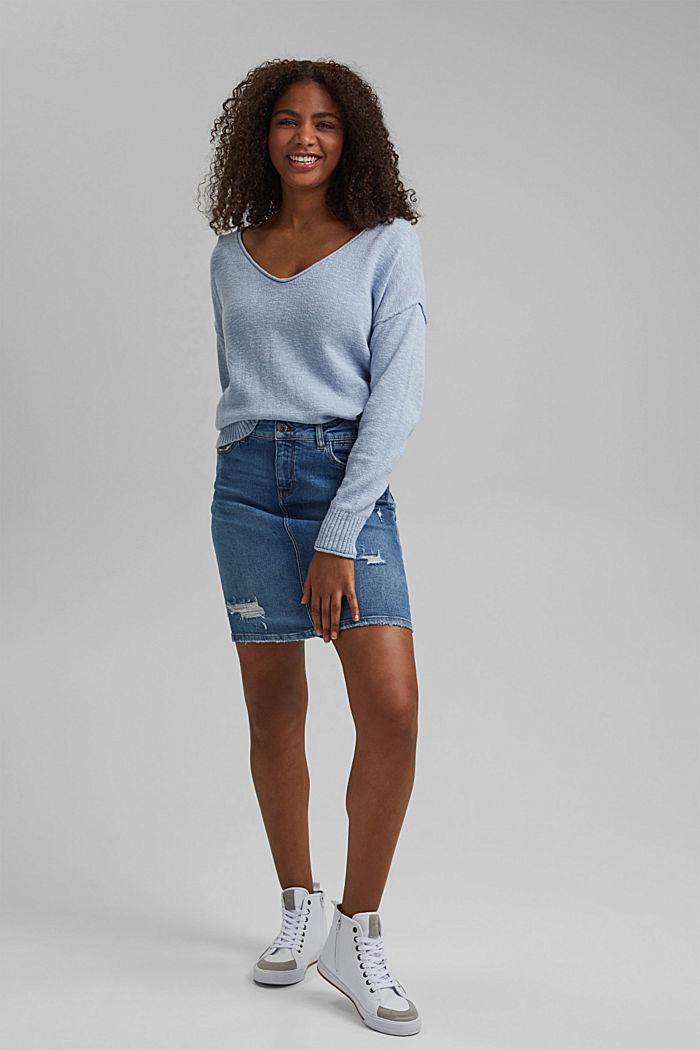 Leinen/Organic Cotton: V-Neck Pullover, LIGHT BLUE LAVENDER, detail image number 1