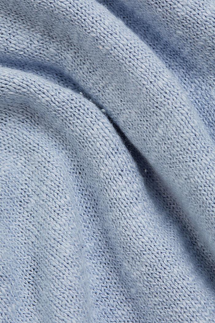 Leinen/Organic Cotton: V-Neck Pullover, LIGHT BLUE LAVENDER, detail image number 4
