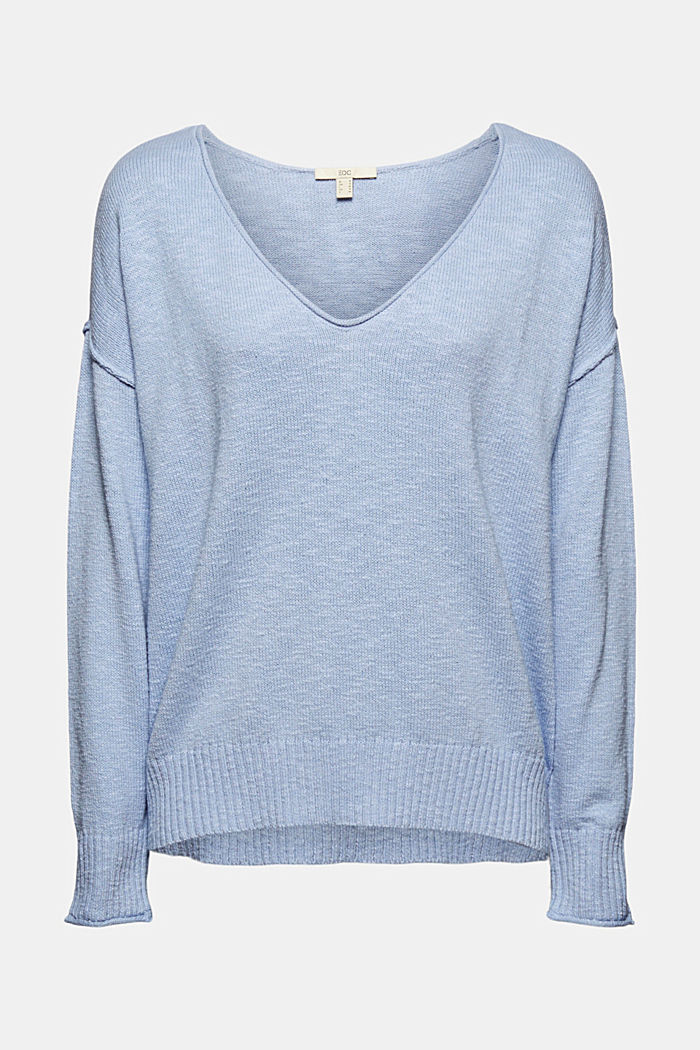 Linen/organic cotton: V-neck jumper
