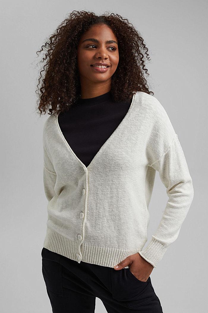 Leinen/Organic Cotton: V-Neck Cardigan, OFF WHITE, detail image number 0